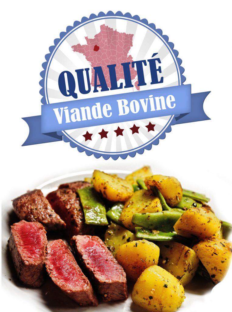 Photo de viande de bœuf avec des pommes de terres et haricots ainsi qu'un logo qualité